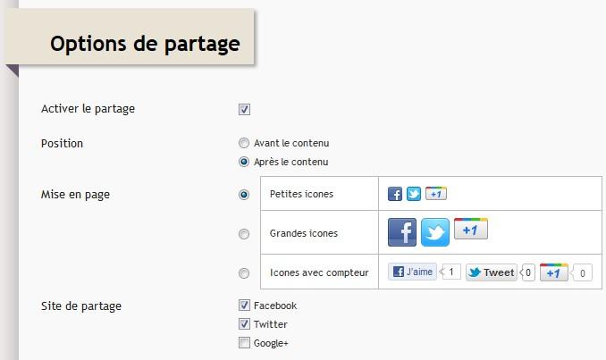 Page et Options de partage